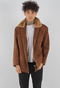 Vintage Suede Bomber Faux Collared Jacket