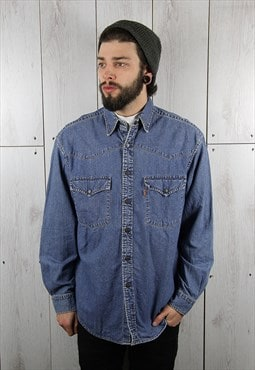 Vintage 1980s Dark Blue Classic LEVI'S Denim Shirt (L)
