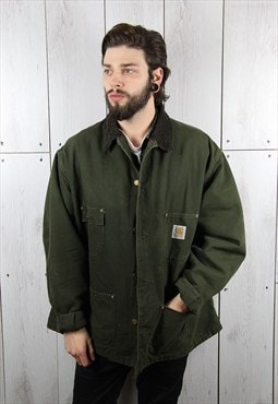 Vintage 1980s Dark Green CARHARTT Denim Jacket (XL)