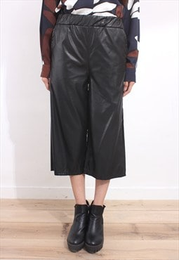 Faux Leather Wide Legged Cropped Pants