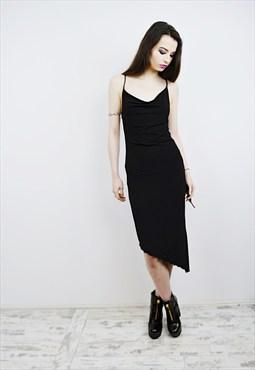 Vintage 90's Black Midi Party Dress r1D064