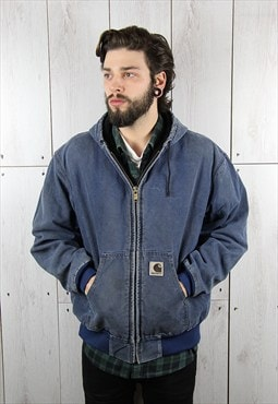 Vintage 1980s Pale Blue CARHARTT Hooded Jacket (L)