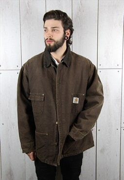 Vintage 1980s Dark Brown Grunge CARHARTT Jacket (XL)