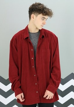 Vintage Deep Red Fine Cord Shirt Z-1115