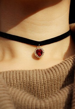 Red Heart Chocker Necklace made with Swarovski Element