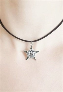 sun, moon and star choker