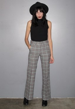 Check Flare Wool Trousers