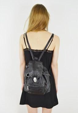 Early 90's Black Leather Rucksack Vintage BackPack Bag