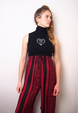 high waisted red and black light trousers