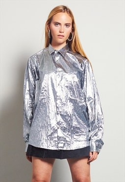 Vintage 80's oversized Benetton silver shirt