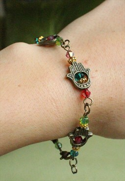 Handmade Hamsa Crystal Bracelet