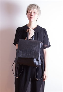 Black Minimal Faux Leather Backpack - BNWT