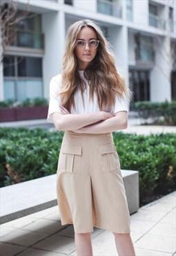 Beige Midi Utility Skirt