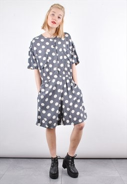 90s Grey Vintage Polka dot Pattern Playsuit