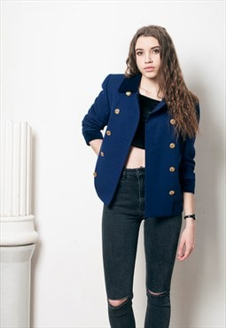 80s vintage blue velvet and wool military jacket