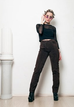 90s vintage brown leather boyfriend trousers