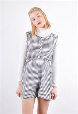 90s Vintage Checked Gingham Pattern Playsuit