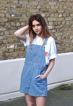 Vintage 90s Light Blue Denim Dungarees Shorts