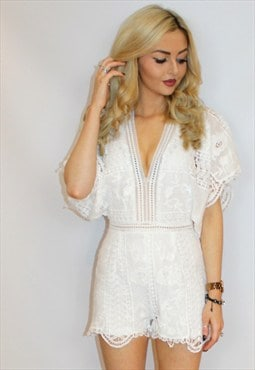 White Crochet Boho Playsuit