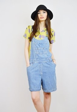 VINTAGE 90's Denim Dungarees Shorts  / Playsuit  R2D080