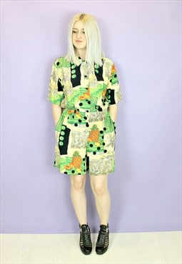 Vintage Tropical Print Playsuit / Romper