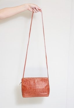 Vintage 1970's Small Tan Textured Leather Hand Bag