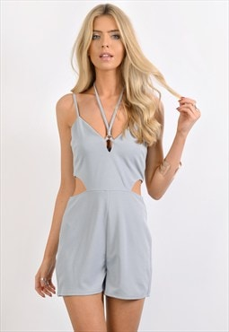 Grey Harness Neck Playsuit