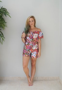 Coral Floral Playsuit