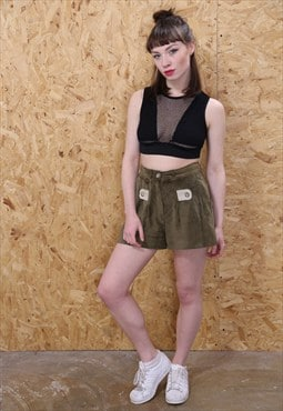 Vintage Green Suede Shorts