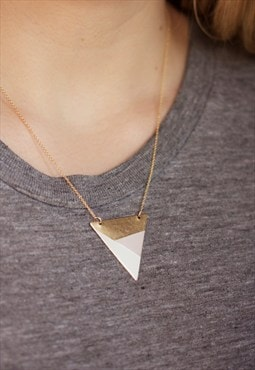 Metal Three Colour Triangle Necklace (Blue)