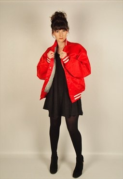 USA bright red vintage 1980s 80s bomber jacket