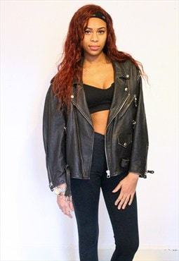 Oversized Vintage 1980's Leather Biker Jacket