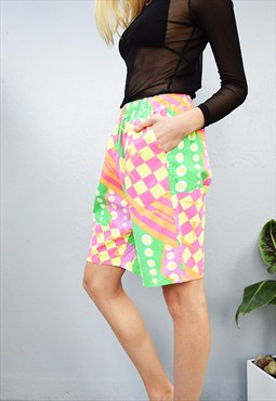 90's Hippie psychedelic abstract print oversized shorts