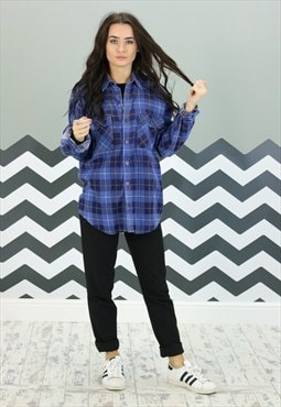 Vintage Checked Flannel Shirt Z-148