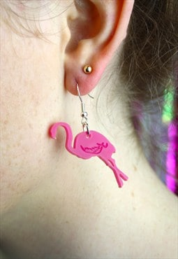 Bright Pink Flamingo Earrings
