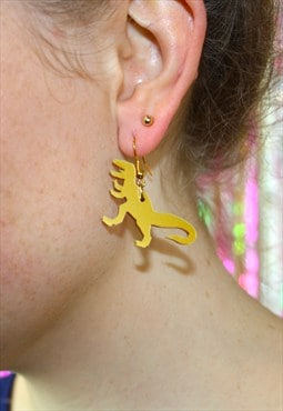 Gold T-Rex Dinosaur Earrings