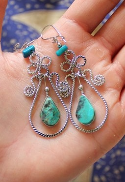 Peruvian Copper Chrysocolla Gemstone Earrings