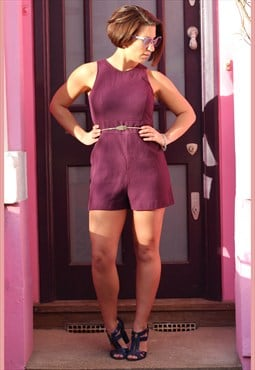 Vintage 1960s aubergine structured playsuit