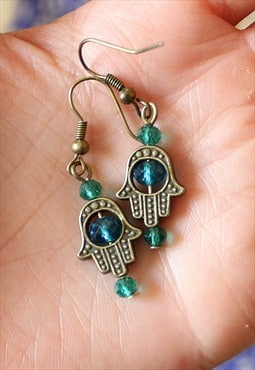 Handmade Hamsa Crystal Earrings