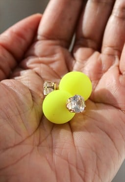 Front And Back Matte Neon Yellow Crystal Stud Earrings