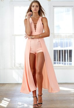 Apricot Jumpsuit with Cape Skirt - Dream Lover Playsuit