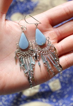 Peruvian Blue Lace Agate Gemstone Earrings