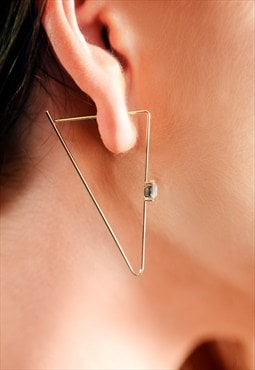 Fine stone gold triangle earrings