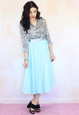 Vintage 70s Blue Sheer Chiffon Full Midi Skirt