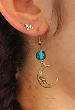 Handmade Moon Earrings with Recycled Beads