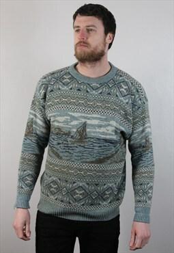 Vintage Funky Pattern Grandad Sweatshirt Jumper