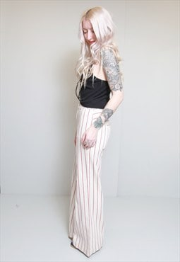 Vintage 1970's High Waisted Cream & Red Stripe Trousers