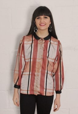 Vintage Silky Check Blouse