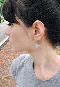 Ginkgo Leaf Sterling Silver Earring