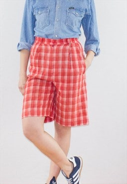Vintage 90's  Red Tartan High Waist Festival Shorts